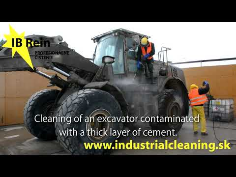 Cleaning of cement- contaminated building equipment