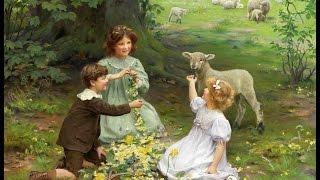 Трогательные дети и животные.Художники ARTHUR JOHN ELSLEY,JULES LEROY.Музыка Моцарта