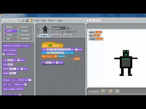 Programming with Scratch Part 1 – Simple Input and Output in Scratch