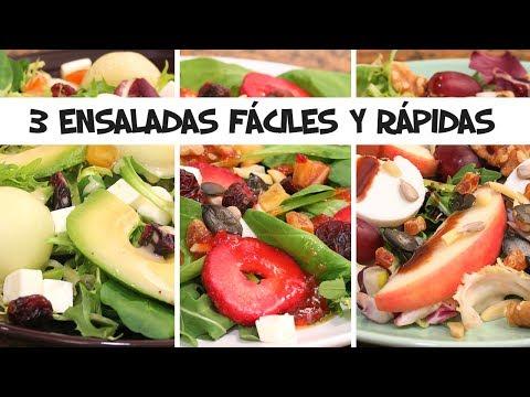 3 ENSALADAS Fáciles y Rápidas con Fruta