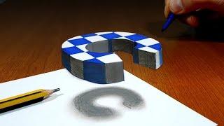 3D Trick Art on Paper, Floating chess, Letter C