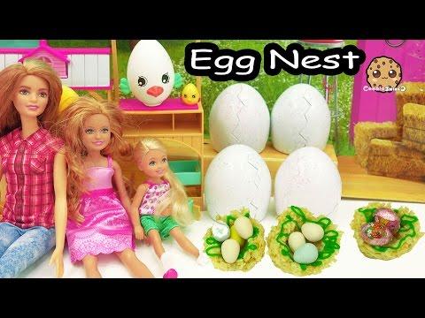 Cooking Fun - Chocolate Shopkins Eggs In Rice Krispy Marshmallow Treat Bird Nest with Barbie