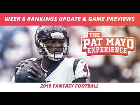 2019 Fantasy Football Week 6  Rankings Update Live — DraftKings Picks, Injuries & Viewer