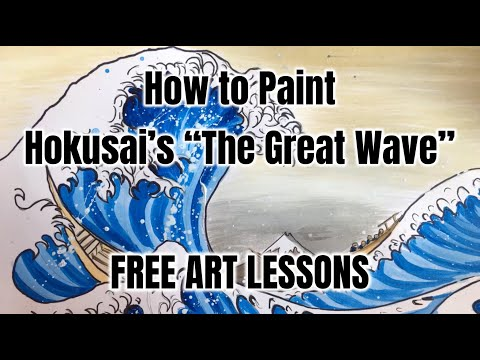 How to Draw and Paint Hokusai's The Great Wave - Free Art Lessons