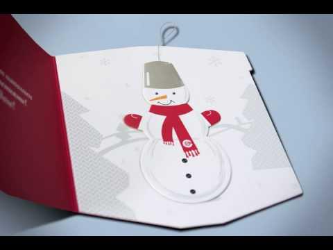 Открытка со снеговиком к Новому году