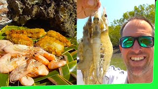 Prawns 🍤 Oysters & Salmon Catch n Cook 🔥 on the fire Shrimp cooking EP.374