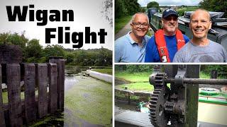 The Wigan Flight Crew. Narrowboat Silver Fox Tackles 23 Canal Locks