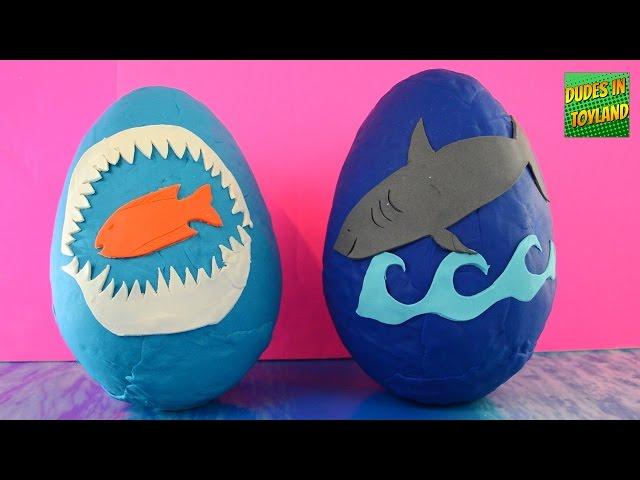 Shark toys GIANT surprise play doh eggs! SHARK WEEK Playdough egg toy videos for children
