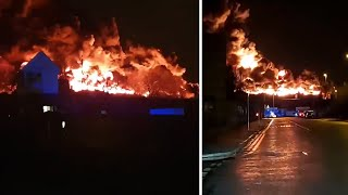 video: Bradford fire: Schools closed and trains disrupted after 100 firefighters tackle scrap tyre blaze