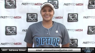 2021 Adrianna Simon - 3.5 GPA - Power Hitting Third Base Softball Skills Video - Ca Riptide