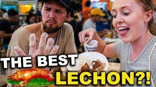 British Couple Try FILIPINO LECHON STREET FOOD in Cebu!