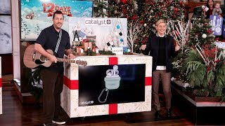 Ellen gave Adam Sandler a guitar to help sing about the incredible gifts for the audience on Day 11 of 12 Days of Giveaways!  #AdamSandler #12DaysOfGiveaways #TheEllenShow
