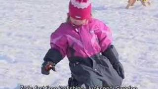 Zoe´s first icefishing Torne river  Arctic Cirlce Juoksengi