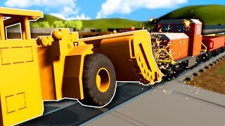 Construction Workers try STOPPING THE TRAIN! - Brick Rigs Multiplayer Gameplay