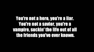 Heroes-All Time Low-Lyrics on screen.