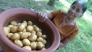 Veg Village Food ❤ Fried Full Potato Gravy Prepared By My Mom