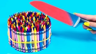 Download Youtube: EXPERIMENT Glowing 1000 degree KNIFE VS 20 OBJECTS! Crayons Orbeez School Supplies Toys! SATISFYING