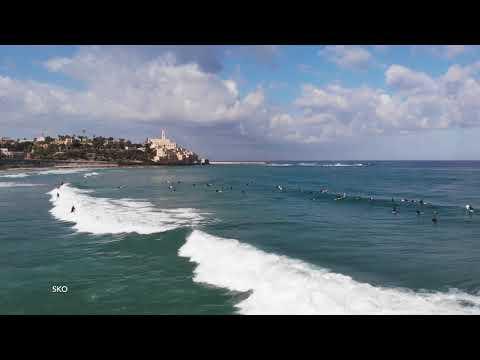Maaravi Beach, Jaffo, Israel May 2019 4K HD