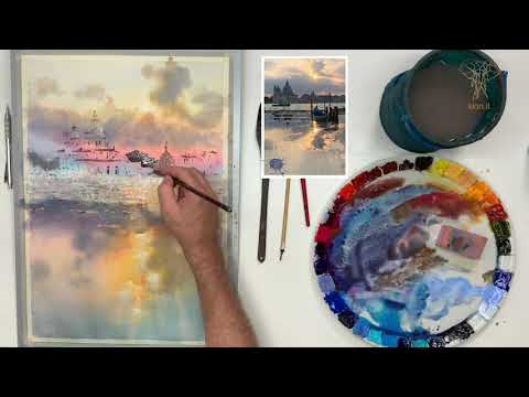 """Watercolor lesson preview - """"Sunset over Venice"""""""