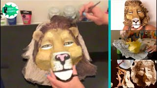 How to make a paper mache lion mask