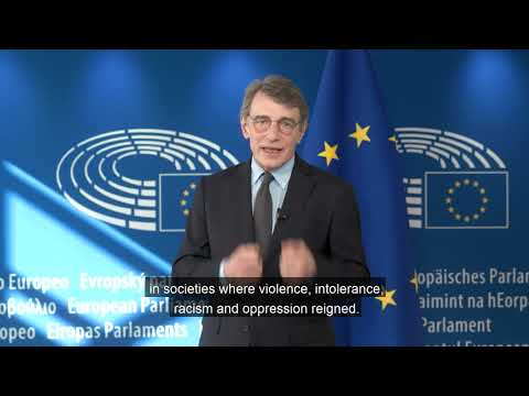 The video message from the President of the European Parliament David Sassoli