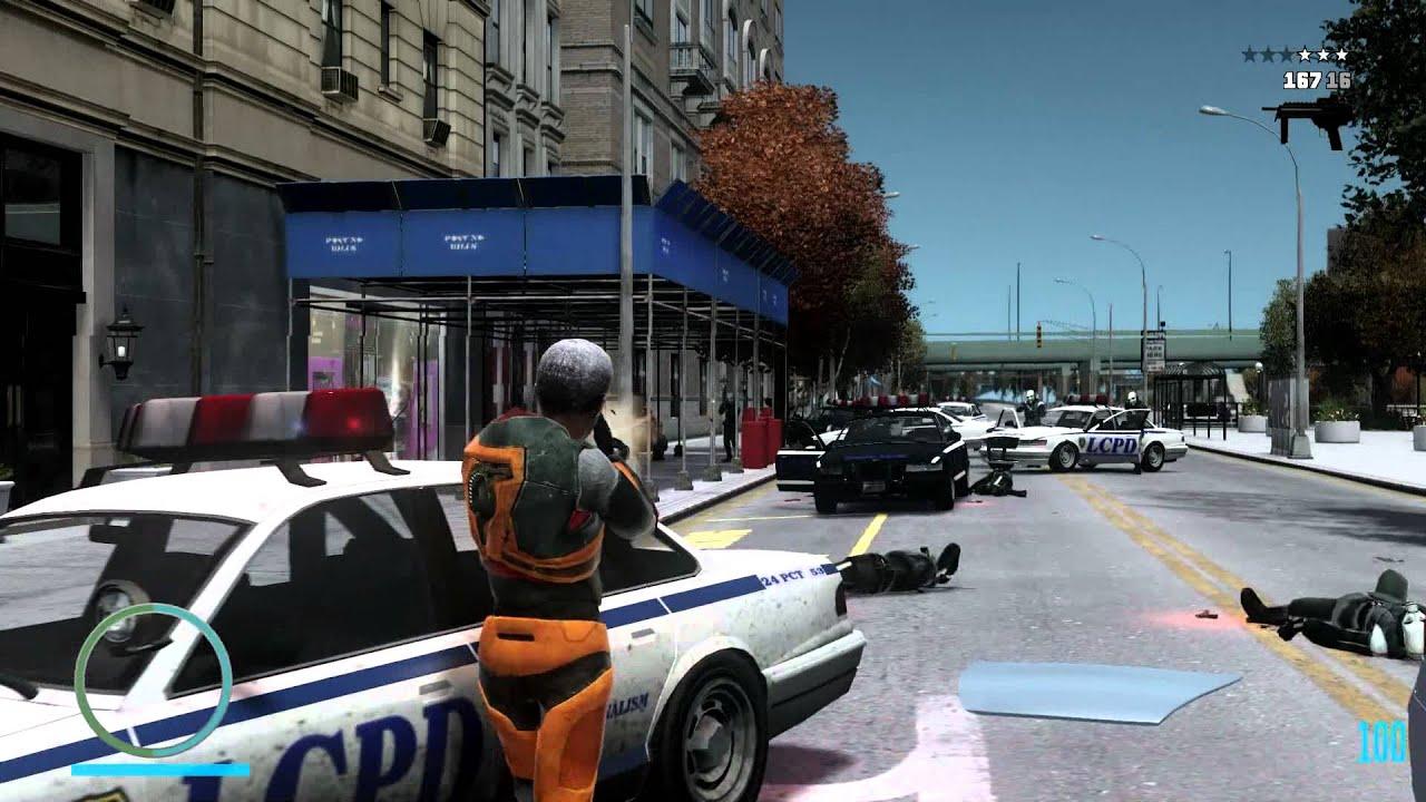 Morgan Freeman. In Grand Theft Auto IV. Dressed As Gordon Freeman