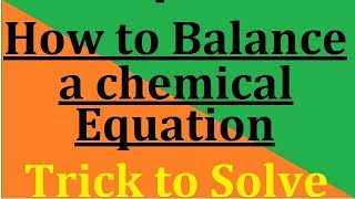 How To Balance  A Chemical Equation In Hindi