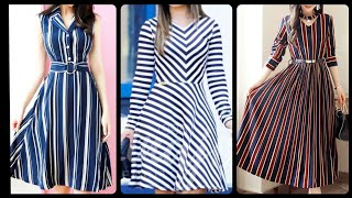 Most Running & Stylish Casual Lining Striped Waist Belted Skater Dresses Midi Dresses Designs