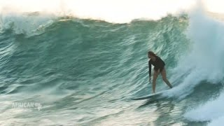 Catching waves with top-ranked African surfer