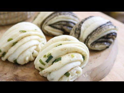 Fluffy Steamed Scallion Rolls & Sesame Rolls