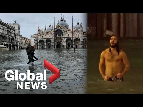 Venice floods: Man swims across St. Mark's square as city hit with 2nd highest tide in history