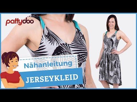 Jerseykleid mit gedrehten Trägern oder Tunnelzug nähen