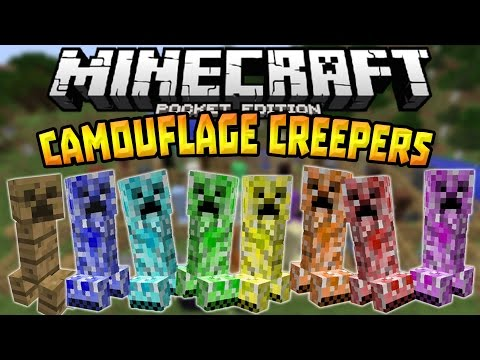 CAMOUFLAGING CREEPERS in MCPE!!! - Camouflage Creeper Mod - Minecraft PE (Pocket Edition)