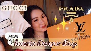 MY TOP 5 FAVORITE DESIGNER BAGS + Giveaway | LOUIS VUITTON GUCCI PRADA MCM