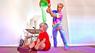 SLIME PRANK ON MINI JAKE PAUL!!