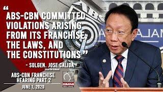 Solicitor General Jose Calida: ABS-CBN committed violations arising from its franchise