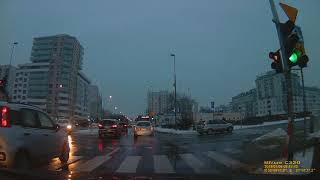 2019 - Driving in Warsaw  - Ursynów district  / HD, Poland, winter & snow