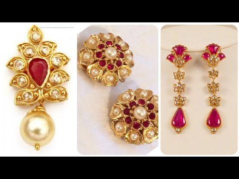 Latest And Gorgeous Gold Stud Earrings Designs Ruby Earrings with Gold And Pearl