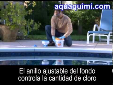 Aquaquimi.com - Perú | ¿Cómo colocar Pastillas de Cloro en el flotador dispensador de la piscina?