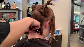 Beautiful Angled Bob Haircut. Step By Step Tutorial.  Perfect Bob Cut.  Layered Bob Haircut