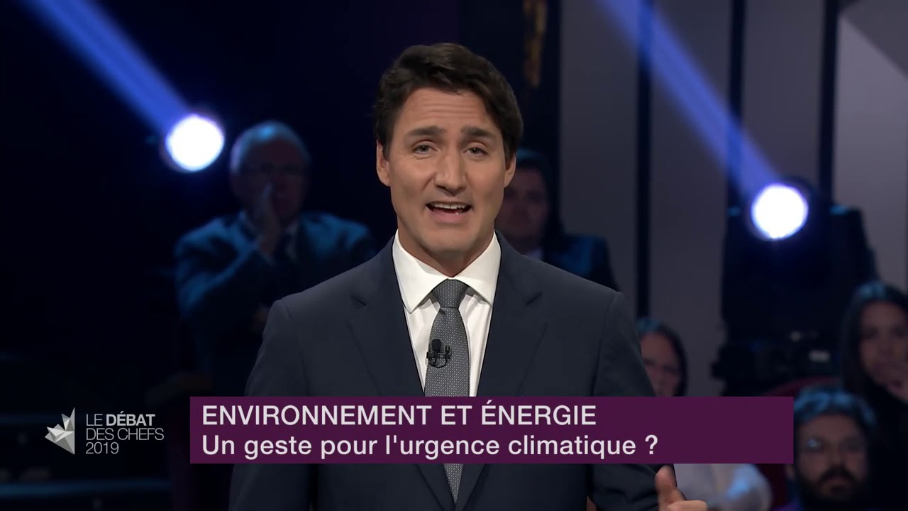 Justin Trudeau answers a question about fighting climate change