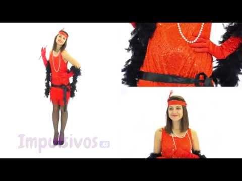 Disfraz de Cabaret rojo para mujer