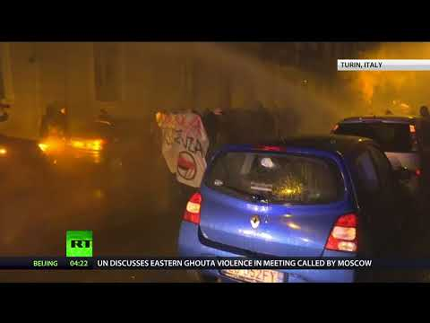Antifa clashes with police in Italian city of Turin during rally against nationalist party
