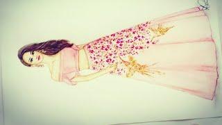 Fashion Design Illustration Drawing Idea For Beginners   Fashion Drawing Idea   Lehenga Design Easy