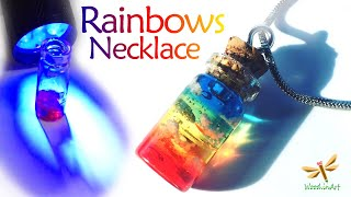 Necklace Rainbows In A Tiny Bottle / Kawaii Jewelry/ UV Resin Charms Tutorial