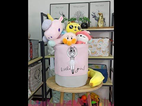 Корзина для игрушек круглая складная Little Girl розовая (SB-28288) Video #1