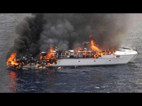 Super Yacht FIRE Super Rich Passengers Crew Escape Luxury Yacht Sinks in High Seas