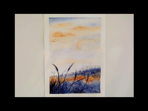 Easy watercolor landscape - speed painting for beginners