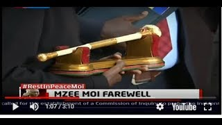 Moi's golden 'fimbo' brought at parliament building in honour of his achievements
