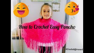 How to Crochet Easy Poncho | Easy Girls Poncho | Beginner Girls Poncho | Poncho for Beginners